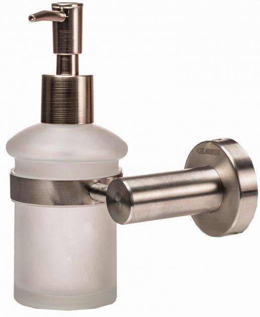 Дозатор для рідкого мила GLOBUS LUX SS8433 матове скло/нержавіюча сталь SUS304 - зображення 1