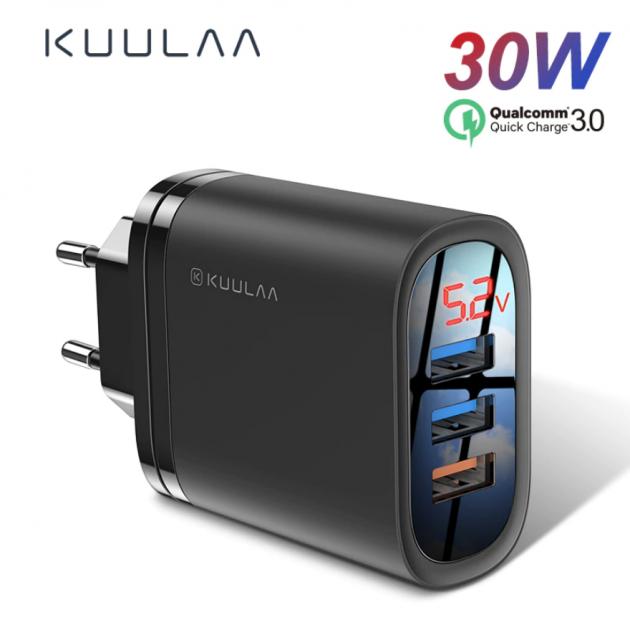 Швидка зарядка KUULAA Quick Charge 3.0 на 3 USB порту c LED індикацією - зображення 1