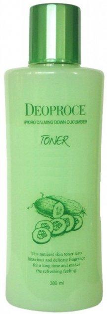 Успокаивающий тонер Deoproce Hydro Calming Down Cucumber Toner с экстрактом огурца и гиалуроновой кислотой 380 мл (8809410033378) - изображение 1