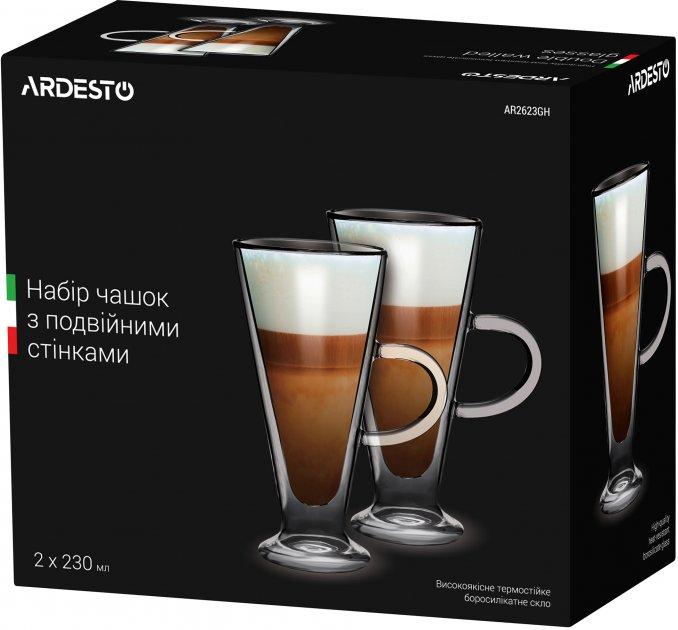 Набор чашек с ручками Ardesto с двойными стенками для латте 230 мл х 2 шт (AR2623GH) - изображение 1