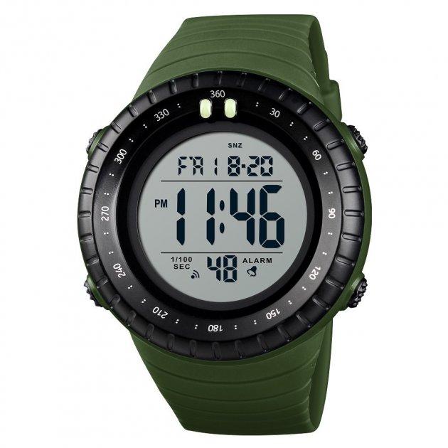 Мужские наручные часы Skmei 1420 Зеленые с белым экраном - изображение 1
