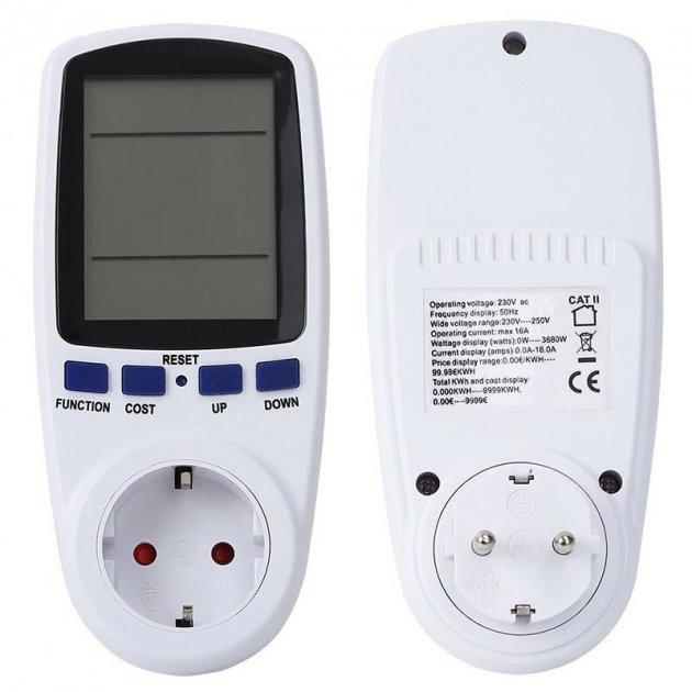 Розетка со счетчиком электроэнергии энергометр ваттметр бытовой Intertek BE009 100267 - зображення 1