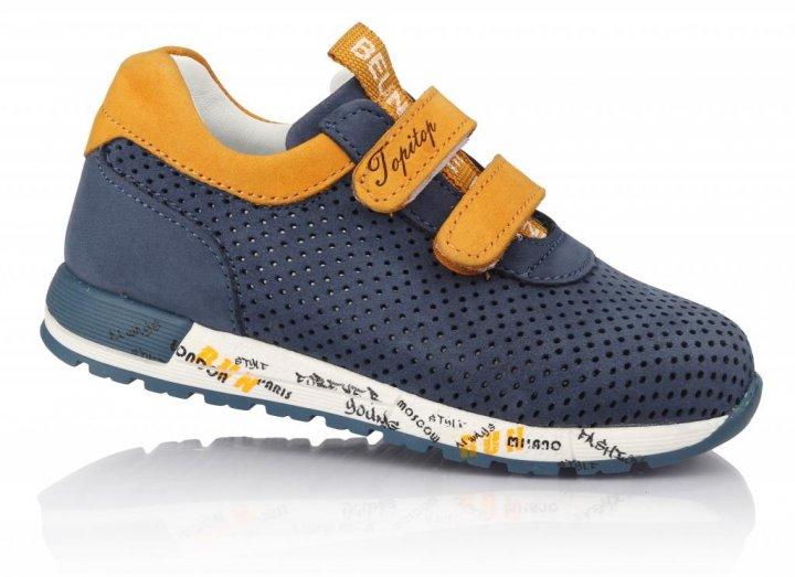 Кроссовки TOPITOP 192 для мальчиков сине-желтые, нубук. Размер 28 - изображение 1