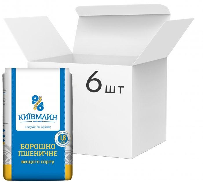 Упаковка борошна пшеничного Київмлин вищого сорту 1.8 кг х 6 шт. (4820203240081) - зображення 1
