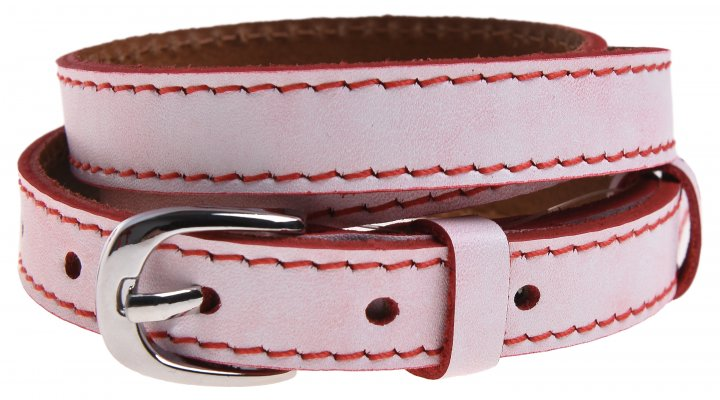 Женский ремень кожаный Sergio Torri 8-0020 80-85 см Белый с красной строчкой (2000000014500) - изображение 1