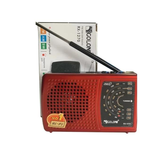 Акумуляторний портативний радіоприймач FM радіо з USB виходом і ліхтариком Червоний Golon (RX-1270) - зображення 1