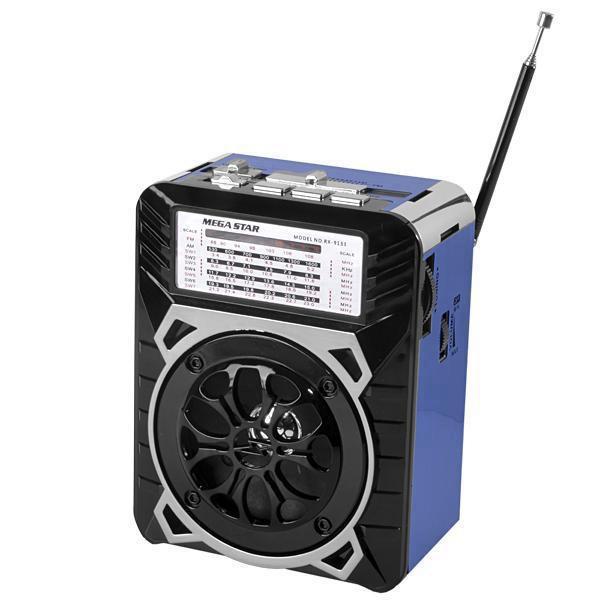 Аккумуляторный портативный радиоприемник FM радио колонка с фонариком и USB выходом Черно-синий Golon (RX-9133) - зображення 1