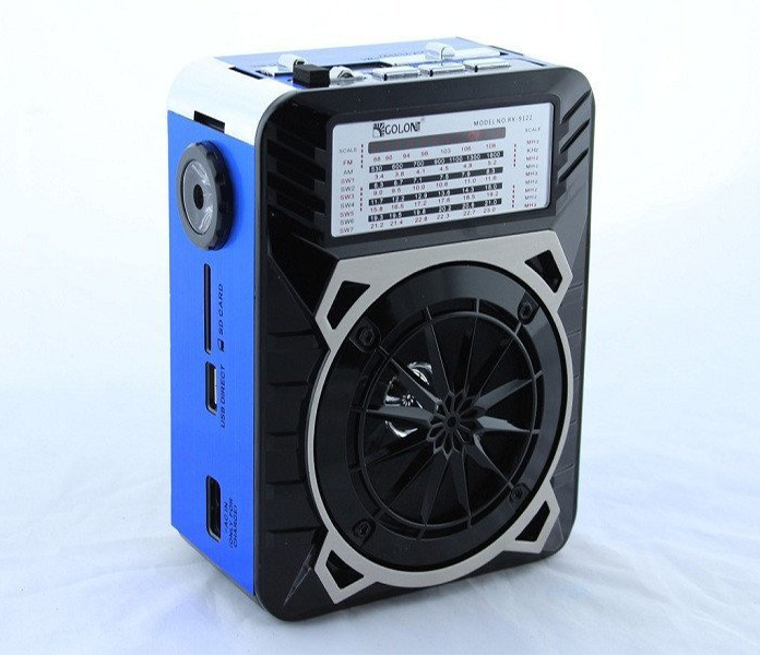 Акустична система радіоприймач FM акумуляторний з USB виходом колонка з радіо Синій Golon (rx-9122) - зображення 1