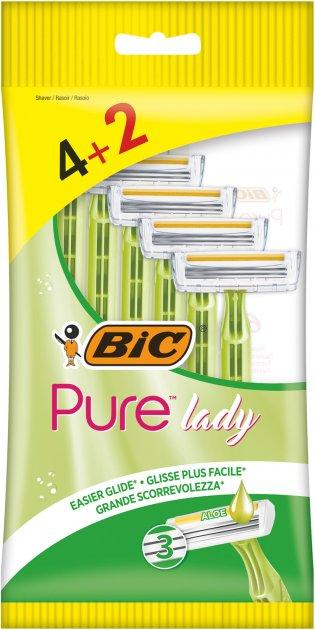 Набор бритв без сменных картриджей Bic Pure 3 Lady 4 + 2 шт (3086126727370) - изображение 1