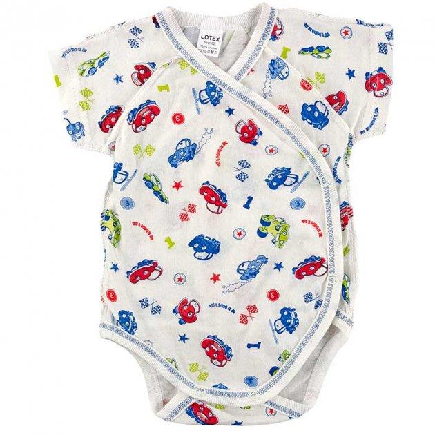 Боди-распашонка для новорожденного с коротким рукавом LOTEX 011-03/2 56 см молочный с голубым (131479) - изображение 1
