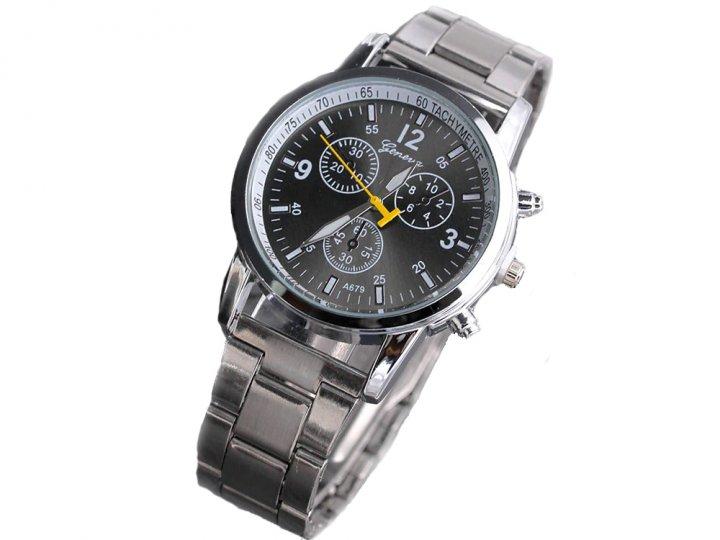 Годинник Geneva Кварцові з нержавіючої сталі чоловічі Чорний (1007-061-00) - зображення 1