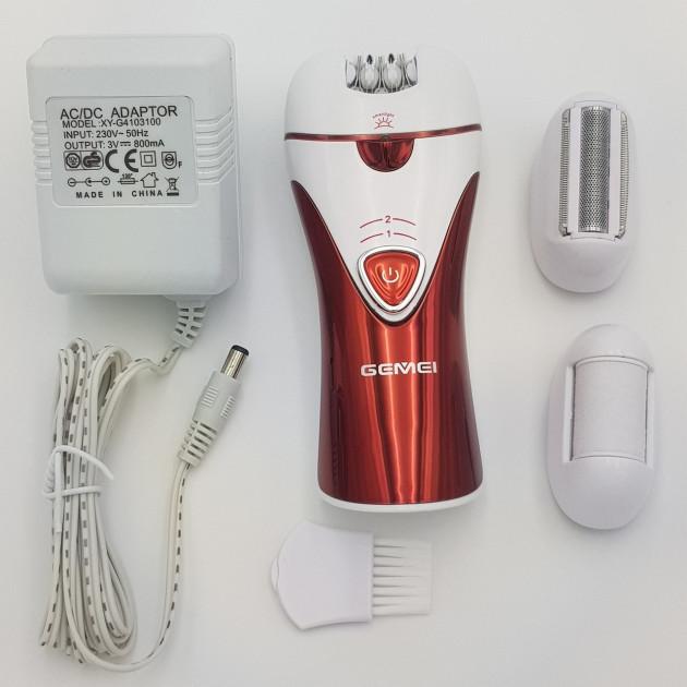 Епілятор бездротовий Gemei GM7002 жіночий акумуляторний з насадками і щіткою Червоно-білий (10317) - зображення 1
