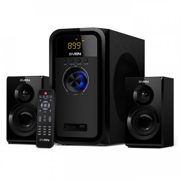 Акустична система ( колонки ) SVEN MS-2051 (black) 2.1 30W Woofer + 2*12,5 speaker, BT, FM, SD, USB, LED (17492) - зображення 1