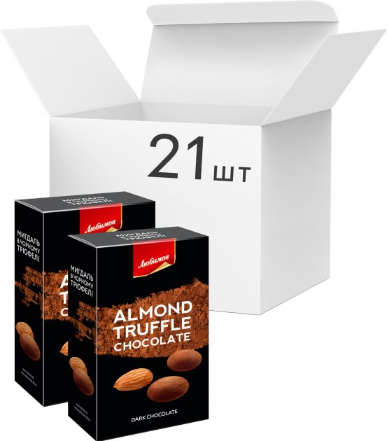 Упаковка конфет Любимов Truff Драже Миндаль в черном трюфеле 100 г х 21 шт (4820075504786) - изображение 1