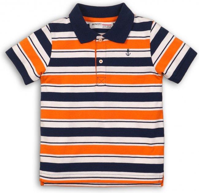 Поло Minoti Club 4 7923 74-80 см Синее с оранжевым и белым (5059030012182) - изображение 1