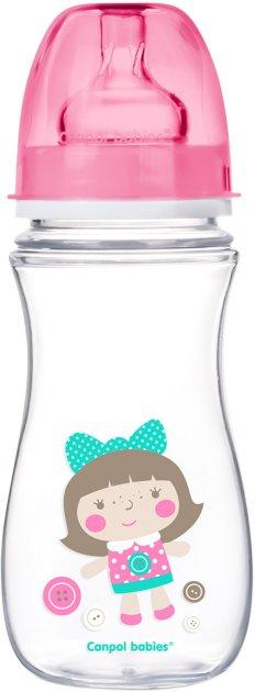 Бутылка с широким отверстием антиколиковая Canpol babies Easystart Цветные зверьки 300 мл Розовая (35/204 Розовый) - изображение 1