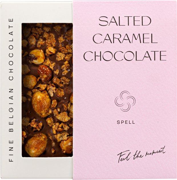 Шоколад Spell с соленой карамелью, карамелизированными хлопьями и фундуком 100 г (4820207310902) - изображение 1