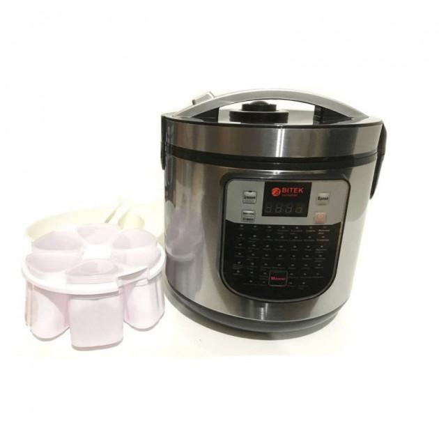 Мультиварка с йогуртницей BITEK 45 программ, 1500 Ватт, 6 литров Серебристая - изображение 1