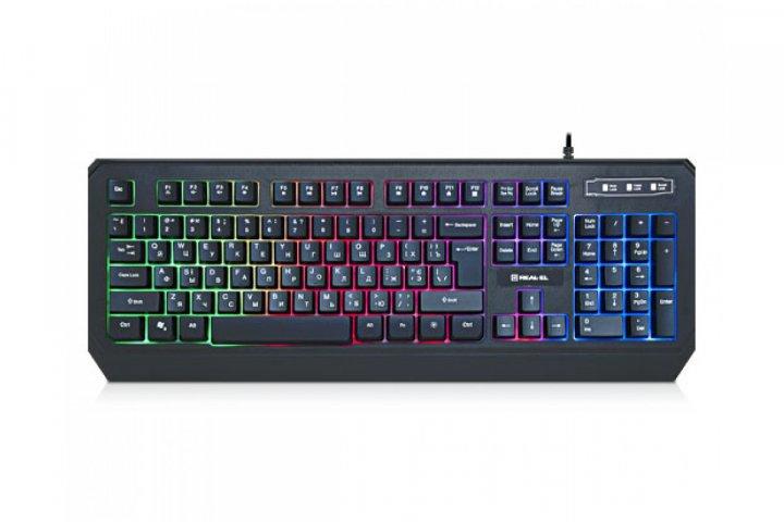 Клавиатура игровая проводная REAL-EL Comfort 7001 Backlit USB с подсветкой Black - изображение 1