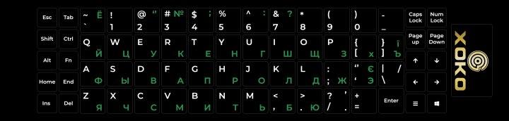 Наклейка на клавиатуру XoKo 68 клавиш Украинский / Английский / Русский (XK-KB-STCK-MD) - изображение 1