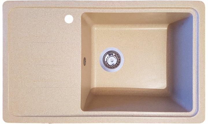Гранітна плита, мийка Rio 63L 710х435х210мм Бежева - зображення 1
