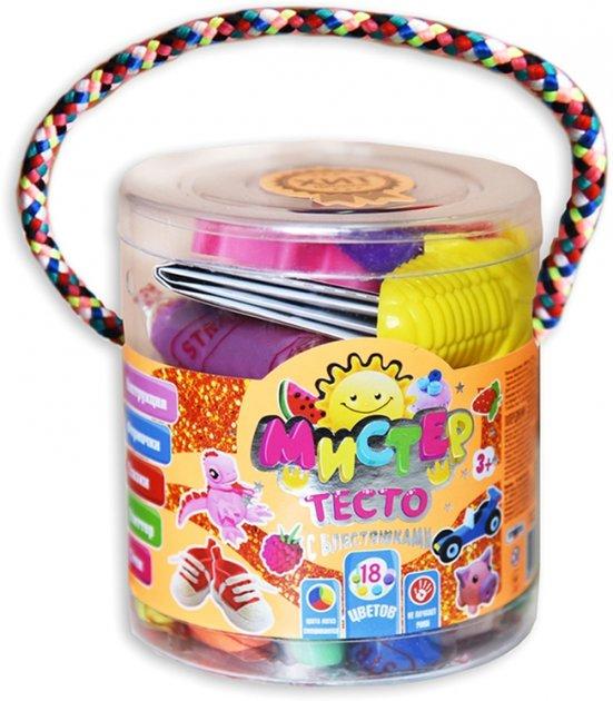 Набор для лепки Strateg Мистер тесто 18 цветов с глиттером (4820175999154) - изображение 1