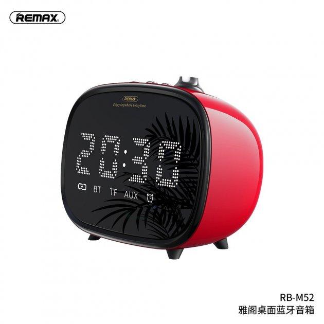 Портативная акустическая система REMAX Jack Desktop Wireless Speaker with LED Display Alarm RB-M52 |TF/AUX, , 4Hours, 1200mAh| Red - изображение 1