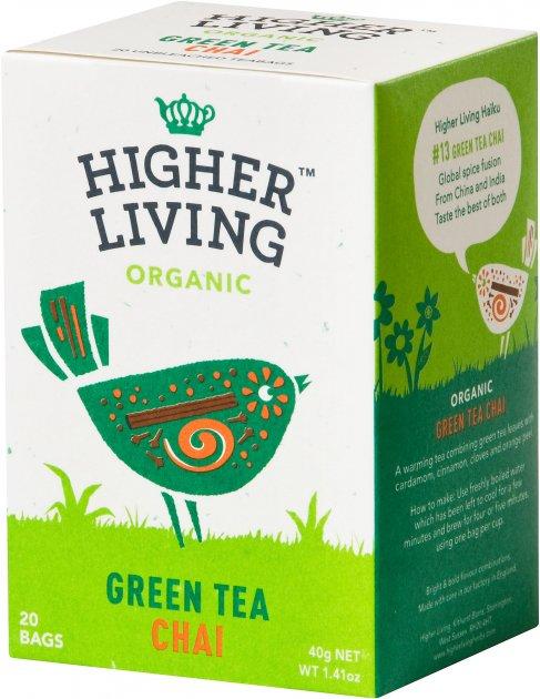 Чай Higher Living зелёный органический Green Tea Chai 20 пакетиков (5060319120122) - изображение 1