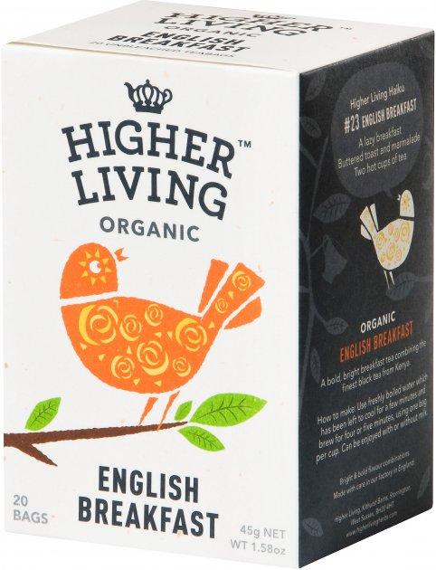 Чай Higher Living чёрный органический English Breakfast 20 пакетиков (5060319120092) - изображение 1