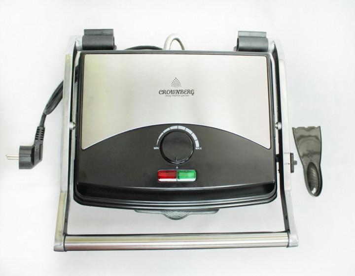 Гриль електричний контактний притискної Crownberg CB-1067 з антипригарним покриттям 1500W Black/Silver - зображення 1