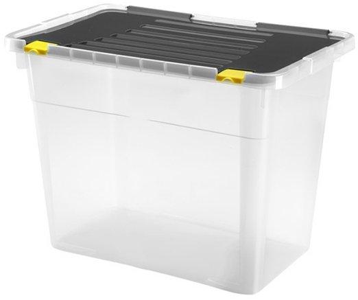 Ящик-контейнер для зберігання Heidrun Dragon One універсальний пластиковий з кришкою і кліпсами 78х38.5 h 47.5 см 100 л (660_прозорий) - зображення 1