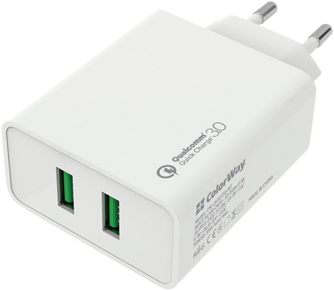 Сетевое зарядное устройство ColorWay 2 USB Quick Charge 3.0 (36W) White (CW-CHS017Q-WT) - изображение 1