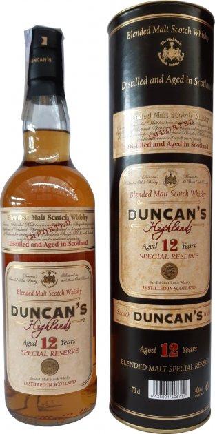 Виски Duncan's BlendedMalt выдержка 12 лет в тубусе 40% 0.7 л (8438001406712) - изображение 1
