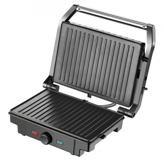 Гриль контактный электрический с регулятором температуры Rainberg RB-5402 2200W сэндвичница Black (TR8900) - изображение 1
