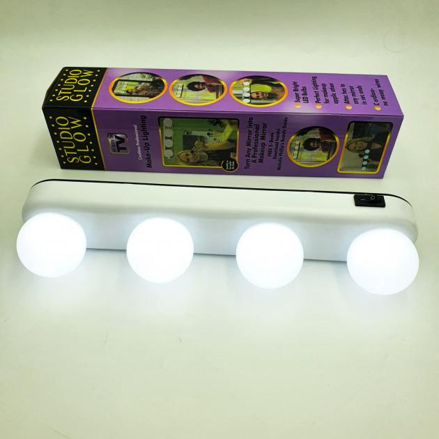 Лампа світлодіодна на присосках для підсвічування дзеркала UKC STUDIO GLOW 4 LED White (zhb0013) - зображення 1