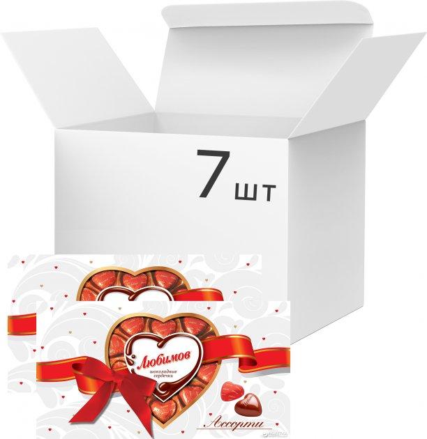 Упаковка конфет Любимов Сердечки ассорти 225 г х 7 шт (4820075503369) - изображение 1