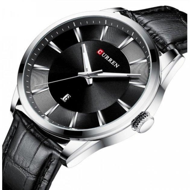 Годинники чоловічі Curren Panama з шкіряним ремінцем Чорний/Сріблястий - зображення 1
