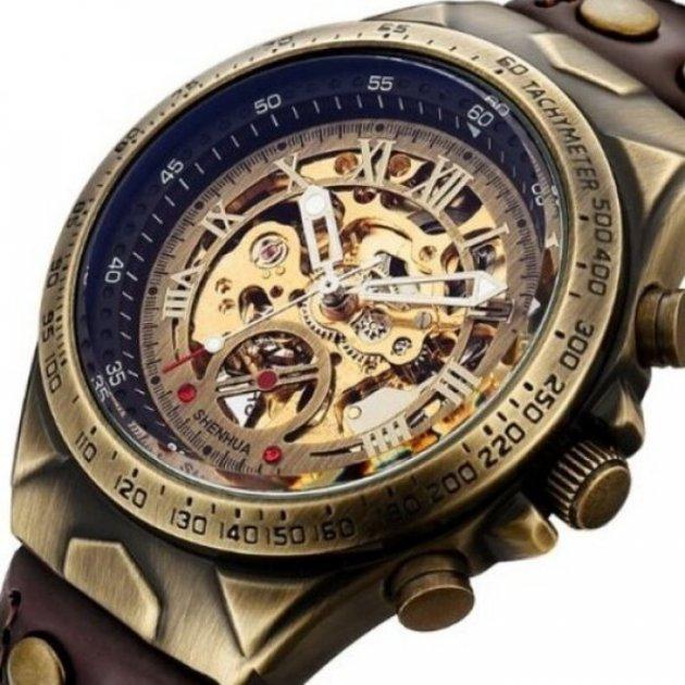 Часы мужские Winner Status механические с автоподзаводом и металлическим браслетом Коричневый - изображение 1