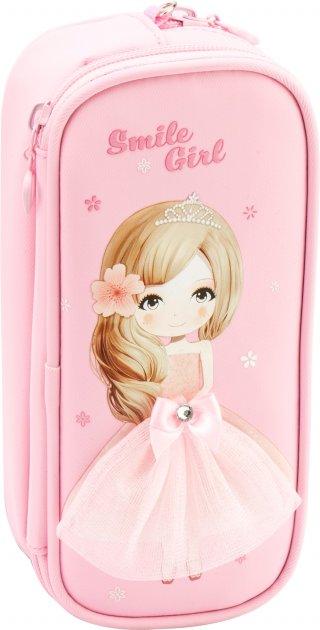 Пенал твердый с аппликацией Cool For School 2 отделения Розовый (7476-pink) - изображение 1