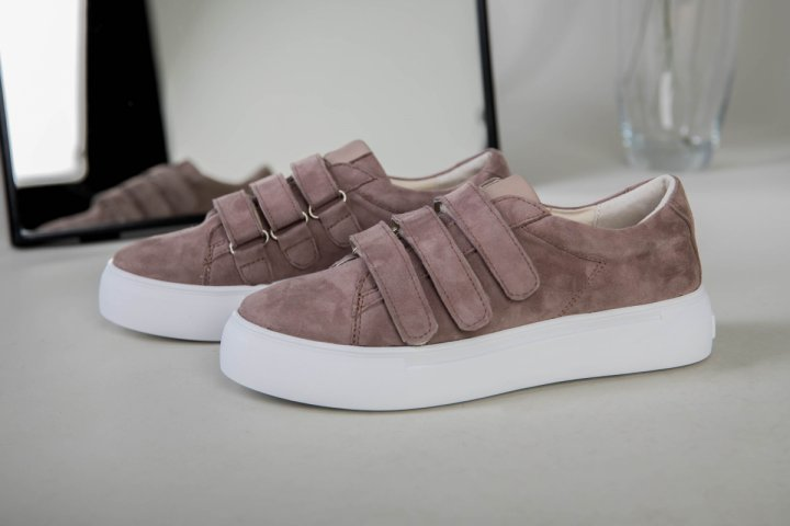 Кеды женские замшевые на липучках LuxuryShoes 7355-1/37 Темно-бежевые - изображение 1