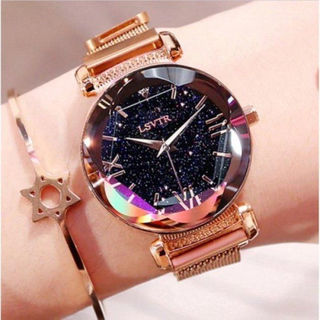 Часы женские Baosaili Cherry с металлическим браслетом + магнитная застежка Черный/Золотистый - изображение 1
