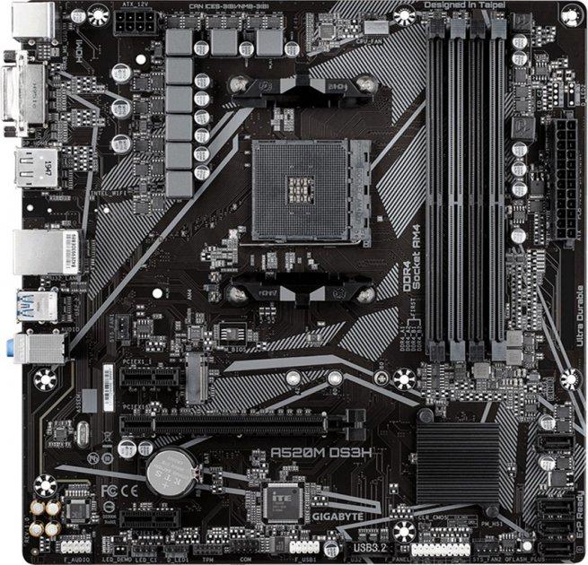 Материнська плата Gigabyte A520M DS3H (sAM4, AMD A520, PCI-Ex16) - зображення 1