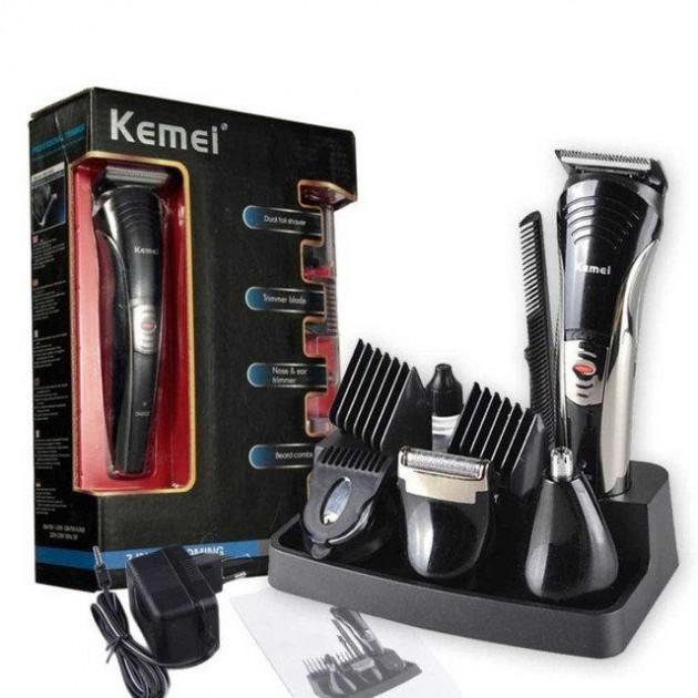 Набор для стрижки волос Kemei LFQ-KM-590A New 3 Вт аккумуляторная машинка бритва и триммер для бороды 7 в 1 + подставка - изображение 1