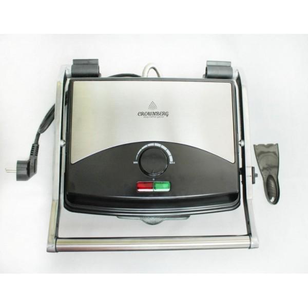 Гриль прижимной с терморегулятором электрический Crownberg (CB-1067) Серебристо-чёрный - зображення 1