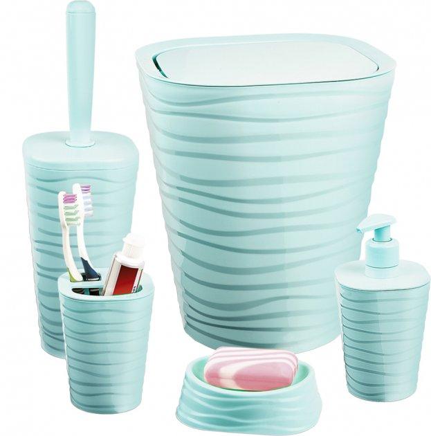 Набір аксесуарів для ванної кімнати PLANET Welle 5 предметів сіро-блакитний - зображення 1