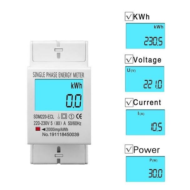 Счетчик электроэнергии однофазный SDM220-ELC на дин рейку 220В 80А DIN, подсветка дисплея - зображення 1