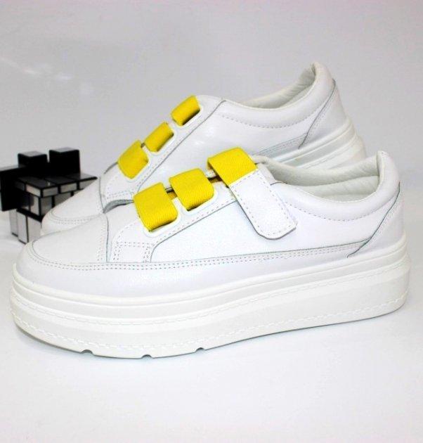 Молодёжные криперы на липучке Shoes 6690-2 39 24.5см белый - изображение 1