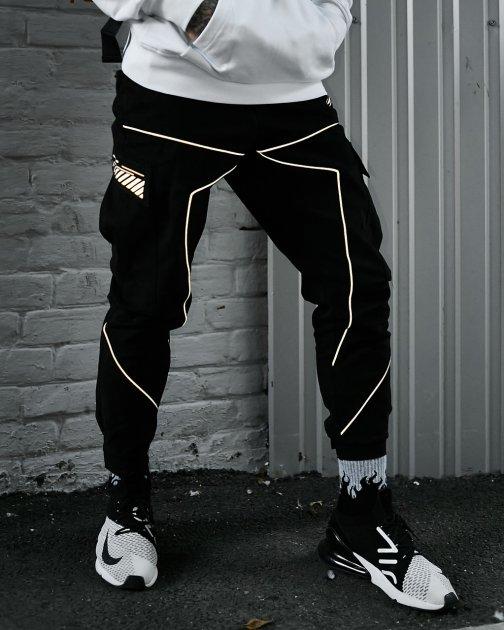 Брюки карго мужские Over Drive Xeed черные с рефлективом XL - изображение 1