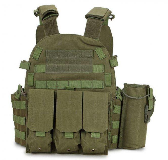 Жилет тактический военный разгрузочный с карманами Kronos A64 Олива (gr_011251) - изображение 1