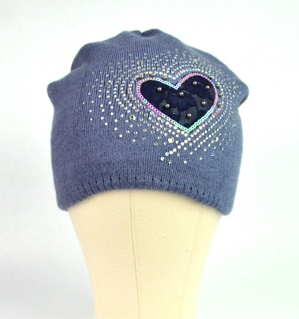 Зимняя шапка Сердце 4-10 лет (50 -54 см) ZS00144 - изображение 1